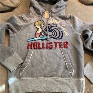 Hollister gray hoodie with embroidered design